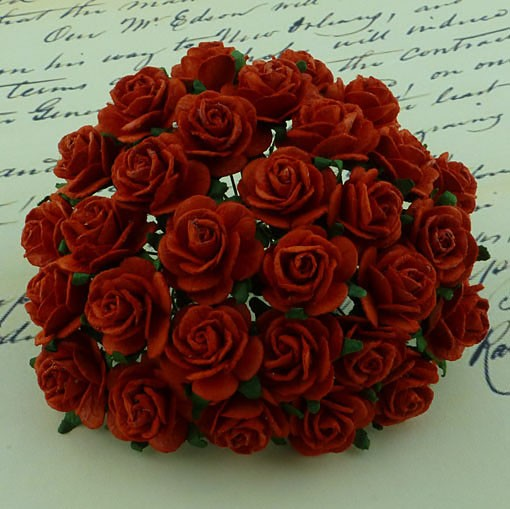 WOC Flowers - Red Mullberry Paper Roses - 10mm