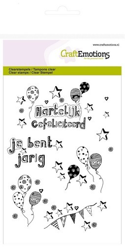 Clearstamp CraftEmotions - A6 - Ballonnen Handlettering jarig