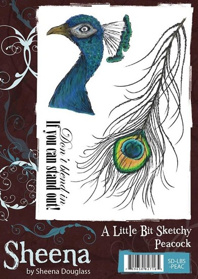 A6 Unmounted Rubberstempel - Sheena Douglass - Peacock