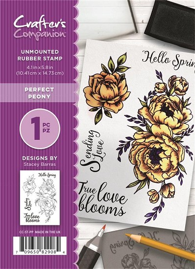 A6 Unmounted Rubberstempel - Crafter`s Companion - Perfect Peony