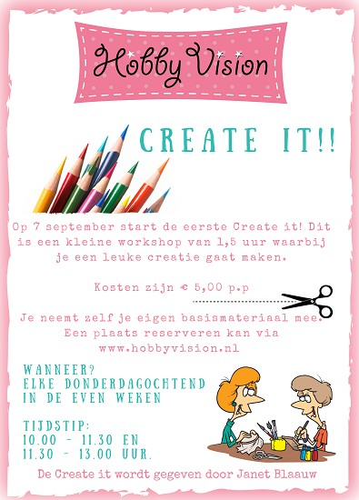 Create it - Donderdag 21 september - 10.00 - 11.30 uur
