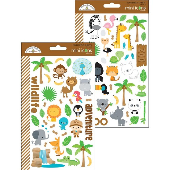 Doodlebug - At the Zoo - Stickers Mini Icons