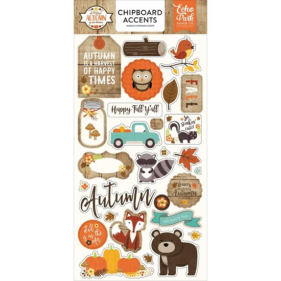 Echo Park - A Perfect Autumn - Chipboard Accents
