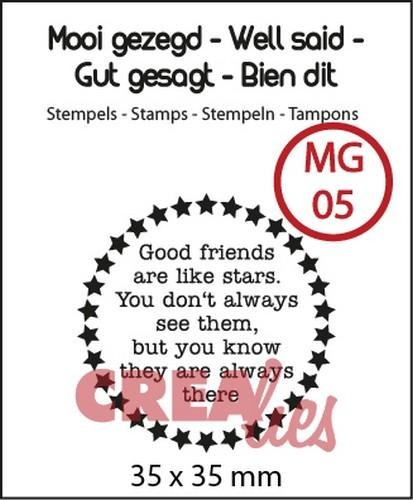 Clearstamp - Crealies - nr 5 Good friends are like stars