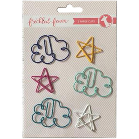 Freckled Fawn - Decorative Paper Clips - Cloud/Star