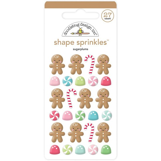 Doodlebug - Sprinkles - Glossy Enamel Shapes - Milk & Coockies Sugarplum