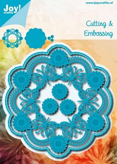 Noor! Design - Blauwe mal - Cirkel Vlinder + Bloemen