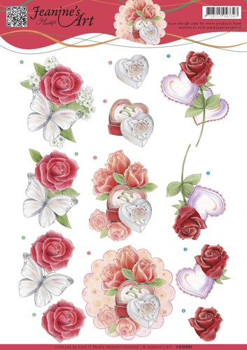 3D knipvel�Jeanine`s Art�-�Roses and Hearts