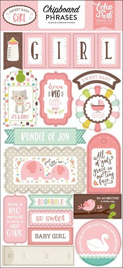 Echo Park - Sweet Baby - Girl Chipboard Phrases 6