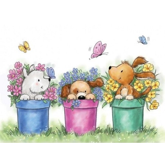 Clearstamp - Wild Rose Studio`s -  A7 Dogs in pots