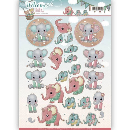 3D Knipvel - Yvonne Creations - Welcome Baby - Little Elephants