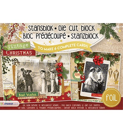 Studio Light - Stansblok A5 with Foil - Vintage Christmas nr.14