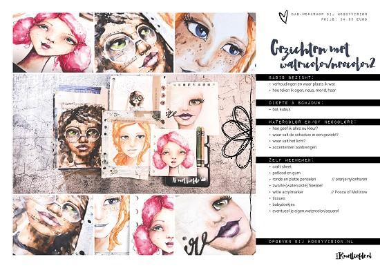 Workshop - Gezichten met Watercolor / Neocolor2 - Zaterdag 15 juni