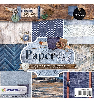 PRE-ORDER 3 - Studio Light - Paper Pad 15x15- Denim Saturdays nr. 103
