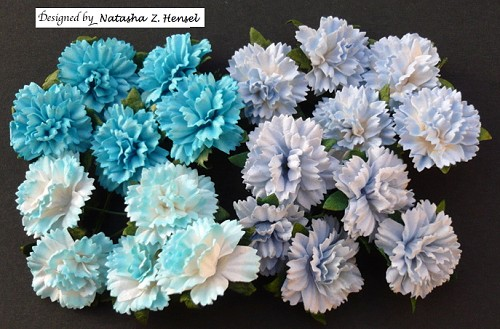 WOC Flowers - Mixed Blue Carnation Flowers - 25mm