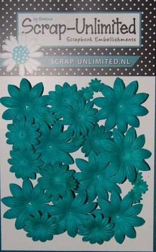 Bloemen - Scrap-Unlimited - Floor - Turquoise