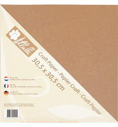 Kraft cardstock AtBelle - 300 grams - 20 vel - 30,5 x 30,5 cm