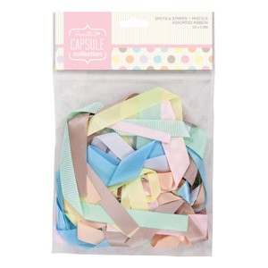 Assorted Ribbon (20pcs) - Capsule - Spots & Stripes Pastels