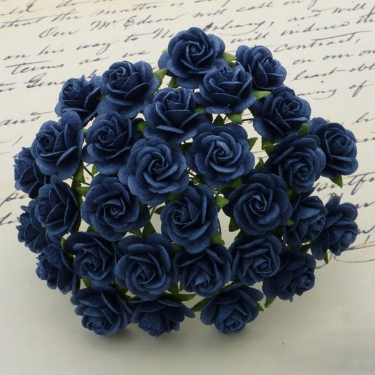 WOC Flowers - Navy Blue Mullberry Paper Roses - 20mm
