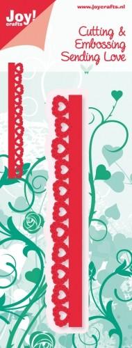 Noor! Design - Sending Love - rand met smalle hartjes