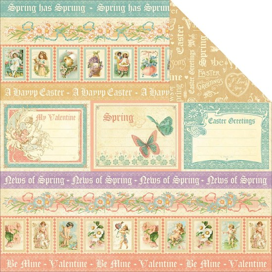 Scrappapier Graphic 45 - Sweet Sentiments - Spring has Sprung